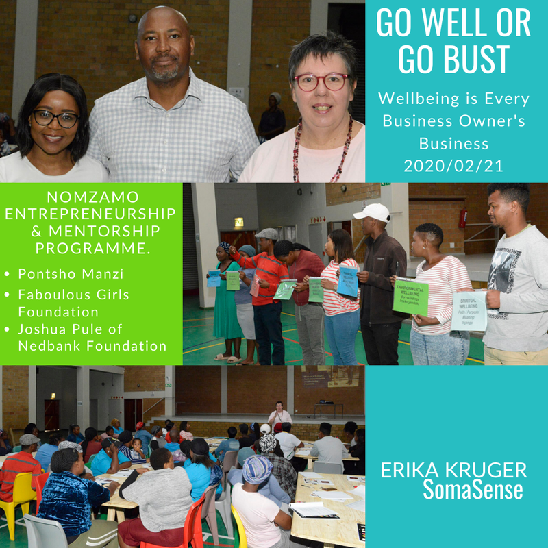 Erika Kruger, SomaSense, self-care, wellbeing Speaker, presenter, Cape Town, workplace wellbeing, wellness, business networks, Helderberg, health and wellbeing, what is wellbeing, wellbeing at work workplace wellness tips, types of well being, employee wellness, Nomzamo, Pontsho Manzi, Fab Women magazine, Nedbank, mentor