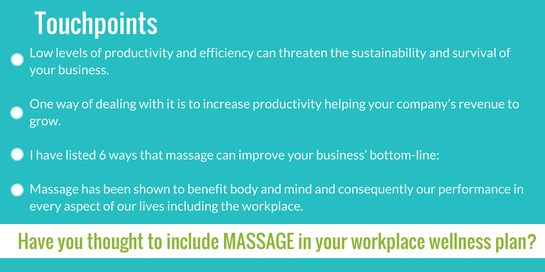 Workplace wellness SomaSense On-site Erika Kruger massage therapeutic massage Somerset West Stellenbosch